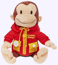 16 in. Curious George Learn to Dress Functions: tie, snap, ziip, and button
