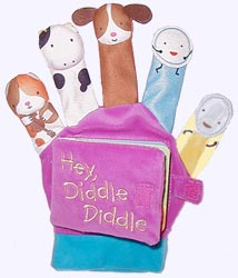 Velour covered Board Book with Hey Diddle Diddle Finger Puppets