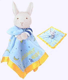 16 in. square Goodnight Moon Blanket with  plush bunny head