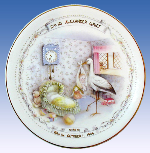 Personalized Nursery Stork Birth Plate And Keepsakes