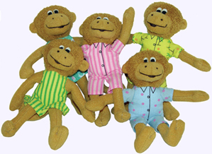 5 in. Five Little Monkees Finger Puppet Set