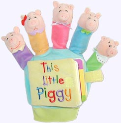 Velour covered Board Book with This Little Piggy Finger Puppets
